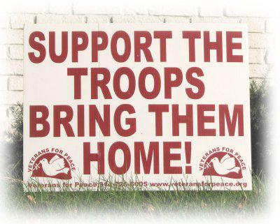 """poster reads, """"Support the troops: bring them home!"""""""